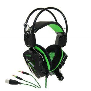 Наушники игровые SmartBuy SBHG-1200 RUSH COBRA Green, с велюровыми амбушюрами