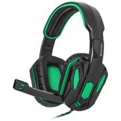 Наушники игровые Defender Warhead G-275 зеленый + черный, кабель 1,8 м