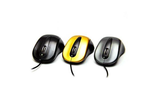 Мышь DeTech DE-3052 USB Gold, Black, Grey
