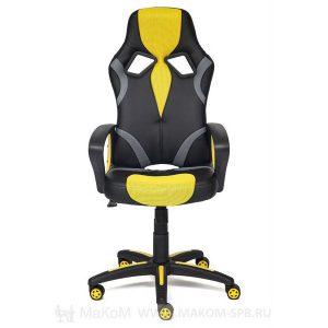 Кресло геймерское TETCHAIR RUNNER, кож/зам/ткань, черный/жёлтый, 36-6/tw27/tw-12