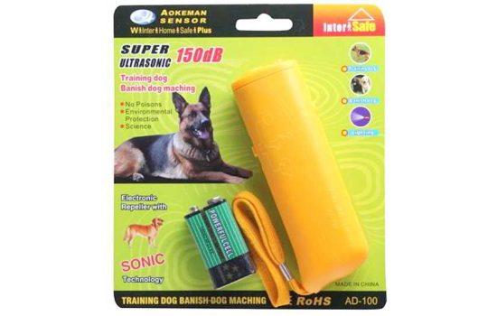Ультразвуковой отпугиватель собак Aokeman Sensor AD-100 + фонарь черный, желтый, синий