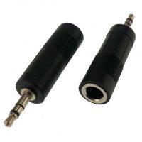 Переходник гнездо 6,3mm - 3.5mm штекер Stereo для микрофона пластик
