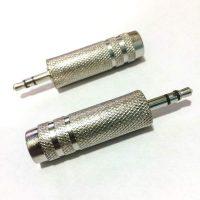 Переходник гнездо 6,3mm - 3.5mm штекер Stereo для микрофона металл
