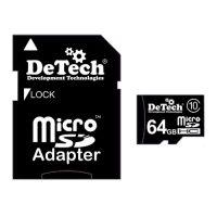 Карта памяти microSDHC 64 GB DeTech Class 10 +SD adapter