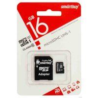 Карта памяти microSDHC 16 Gb Smartbuy UHS-1 Class 10 + адаптер SD