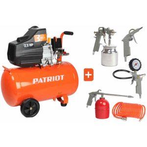 Компрессор PATRIOT EURO 50-260К, набор пневмоинструмента KIT 5B, 1,8 кВт