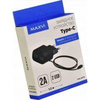 СЗУ Maxvi TCM-200TB 2A +кабель Type-C 1,2m Black