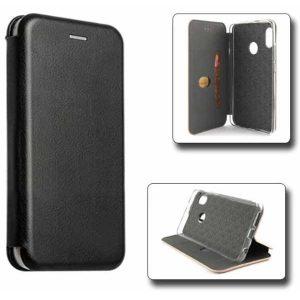 Чехол книжка Samsung A20 Black искусственная кожа
