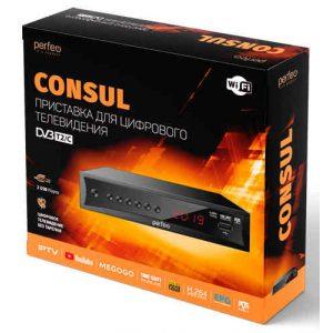 Ресивер DVB-T2 Perfeo Consul PF-A4413 Wi-Fi, IPTV, HDMI, 2 USB, Dolby Digital, пульт ДУ