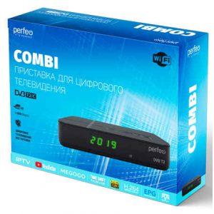 Ресивер DVB-T2 Perfeo Comby PF-A4353 Wi-Fi, IPTV, HDMI, 2 USB, Dolby Digital, пульт ДУ