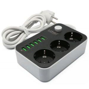 Сетевой фильтр LDNIO SE3631, 3 розетки, 1.6 м, 6 USB, 3.4A