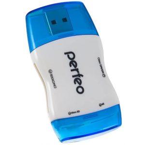 Картридер Perfeo PF-VI-R016 microSD,SD,M2,MMC,MS-Pro White-Blue