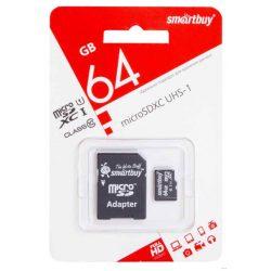 Карта памяти microSDXC 64 GB Smartbuy Class 10 +SD adapter